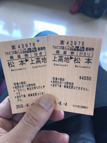 松本ー上高地 往復乗車券