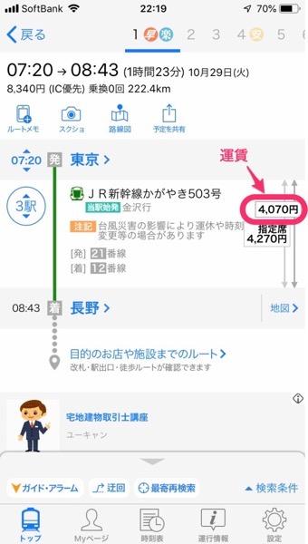 東京駅ー長野駅間の運賃